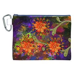 Abstract Flowers Floral Decorative Canvas Cosmetic Bag (xxl)