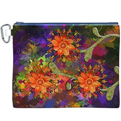 Abstract Flowers Floral Decorative Canvas Cosmetic Bag (xxxl)