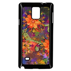 Abstract Flowers Floral Decorative Samsung Galaxy Note 4 Case (black)