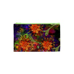 Abstract Flowers Floral Decorative Cosmetic Bag (xs)