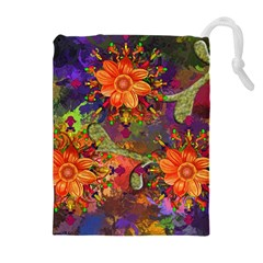 Abstract Flowers Floral Decorative Drawstring Pouches (extra Large)