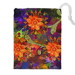 Abstract Flowers Floral Decorative Drawstring Pouches (xxl)