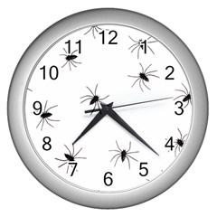 Animals Arachnophobia Seamless Wall Clocks (silver)