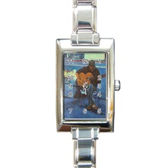 Man and His Guitar Rectangle Italian Charm Watch