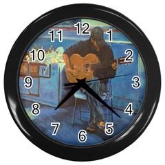 Man And His Guitar Wall Clocks (black)