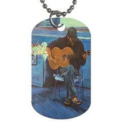 Man and His Guitar Dog Tag (One Side)