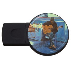 Man and His Guitar USB Flash Drive Round (1 GB)