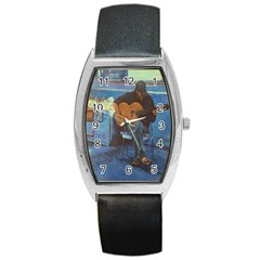 Man And His Guitar Barrel Style Metal Watch