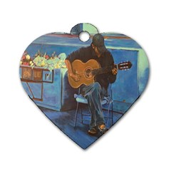 Man and His Guitar Dog Tag Heart (Two Sides)