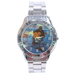 Man and His Guitar Stainless Steel Analogue Watch