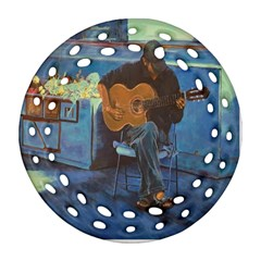 Man And His Guitar Round Filigree Ornament (two Sides)