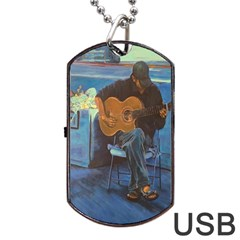 Man and His Guitar Dog Tag USB Flash (Two Sides)