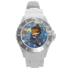 Man and His Guitar Round Plastic Sport Watch (L)