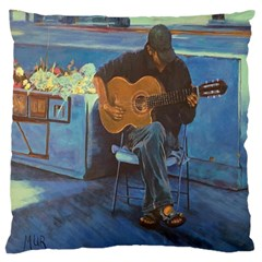 Man And His Guitar Large Cushion Case (two Sides)