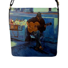 Man and His Guitar Flap Messenger Bag (L)
