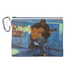 Man And His Guitar Canvas Cosmetic Bag (l)