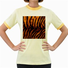 Animal Background Cat Cheetah Coat Women s Fitted Ringer T Shirts
