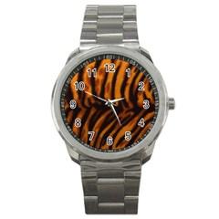 Animal Background Cat Cheetah Coat Sport Metal Watch