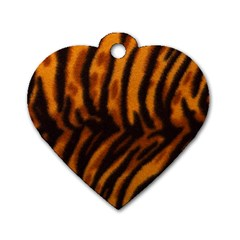 Animal Background Cat Cheetah Coat Dog Tag Heart (two Sides)