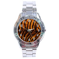 Animal Background Cat Cheetah Coat Stainless Steel Analogue Watch