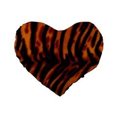 Animal Background Cat Cheetah Coat Standard 16  Premium Heart Shape Cushions