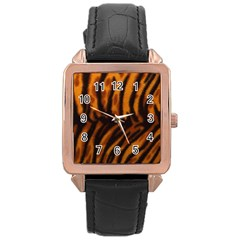 Animal Background Cat Cheetah Coat Rose Gold Leather Watch