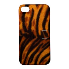 Animal Background Cat Cheetah Coat Apple Iphone 4/4s Hardshell Case With Stand
