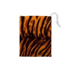 Animal Background Cat Cheetah Coat Drawstring Pouches (small)