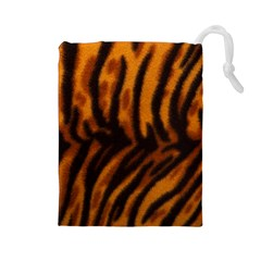 Animal Background Cat Cheetah Coat Drawstring Pouches (large)