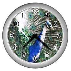 Animal Photography Peacock Bird Wall Clocks (silver)