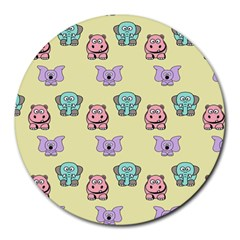 Animals Pastel Children Colorful Round Mousepads