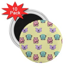 Animals Pastel Children Colorful 2 25  Magnets (10 Pack)
