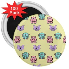 Animals Pastel Children Colorful 3  Magnets (100 Pack)