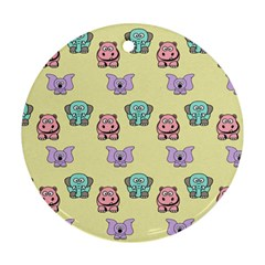 Animals Pastel Children Colorful Round Ornament (two Sides)