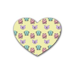 Animals Pastel Children Colorful Heart Coaster (4 Pack)
