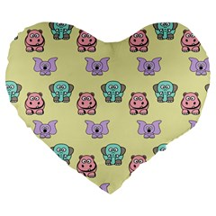 Animals Pastel Children Colorful Large 19  Premium Heart Shape Cushions
