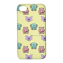 Animals Pastel Children Colorful Apple Iphone 4/4s Hardshell Case With Stand