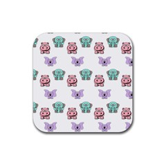 Animals Pastel Children Colorful Rubber Coaster (square)