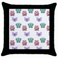 Animals Pastel Children Colorful Throw Pillow Case (black)