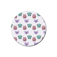 Animals Pastel Children Colorful Rubber Coaster (round)