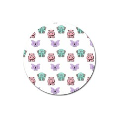 Animals Pastel Children Colorful Magnet 3  (round)