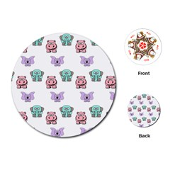 Animals Pastel Children Colorful Playing Cards (round)