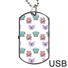 Animals Pastel Children Colorful Dog Tag Usb Flash (two Sides)