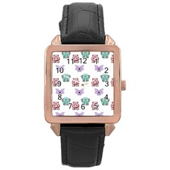 Animals Pastel Children Colorful Rose Gold Leather Watch