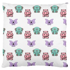 Animals Pastel Children Colorful Large Flano Cushion Case (two Sides)