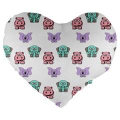 Animals Pastel Children Colorful Large 19  Premium Flano Heart Shape Cushions
