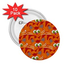 Animals Pet Cats Mammal Cartoon 2 25  Buttons (10 Pack)