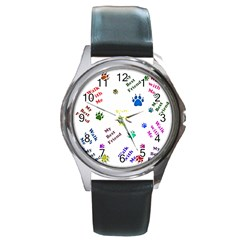 Animals Pets Dogs Paws Colorful Round Metal Watch
