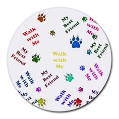 Animals Pets Dogs Paws Colorful Round Mousepads