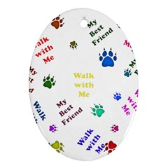Animals Pets Dogs Paws Colorful Ornament (oval)